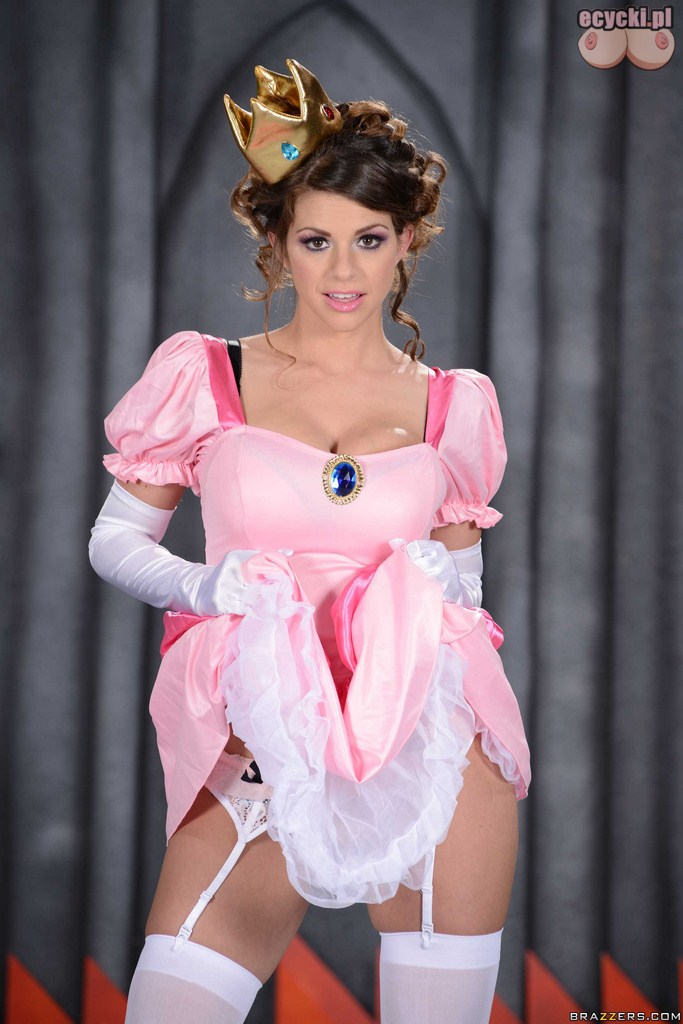 02. Princess Peach - pretty sexy girl - hot model cosplay - pink dress - stocking lingerie - big breast - nice woman