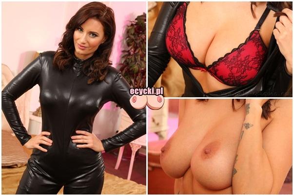 Sammy Braddy pokazuje duze naturalne cycki wielki cyce cycki rozbiera sie sexy latex kombinezon ponczochy huge natural boobs big tits - Sammy Braddy i jej wielkie naturalne cycki w sexy sesji: