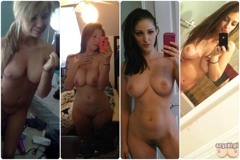 nagie selfie mlode laski pozuja nago przed lustrem do zdjec naturalne nagie cycki cycate dziewczyny amatorki amatour tits naked in the mirror - Nagie selfie - młode cycate laski pozują nago przed lustrem: