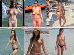 amatorki w topless - cycki w topless - zwykle dziewczyny na plazy - mlode laski na wakacjach - cycki na sloncu - piersi - biusty na plazy