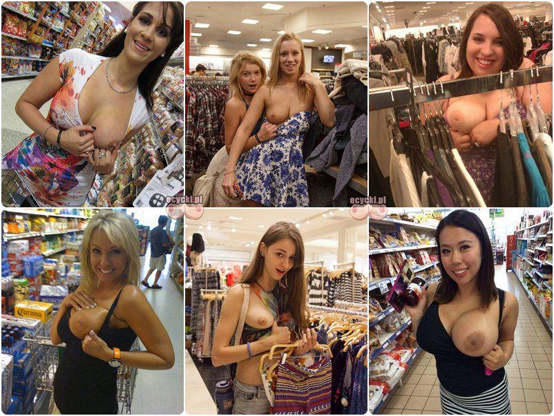 cycki na zakupach - amatorki pokazuja swoje nagie piersi w sklepie - cycki na miescie w miejscu publicznym - pokaz cyce - ecycki