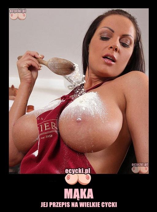 cycki w kuchni - memy powiekszanie piersi - maka jej przepis na powiekszenie cyckow - wyrosniete cycki - laska - kobieta w kuchni - memy z cyckami