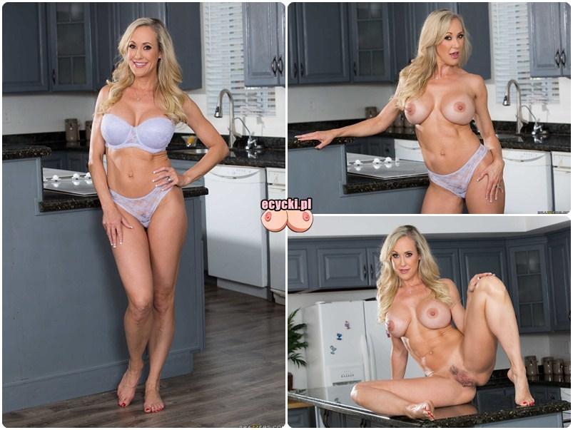 Sexy mamuska Brandi Love nago w kuchni - dojrzala kobieta rozbiera sie przy gotowaniu galeria - seksowna MILF zrzuca bielizne - duze piersi duze posladki - ecycki
