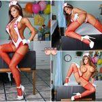 Sexy pielegniarka Madison Ivy striptiz galeria - zgrabna opalona kobieta w stroju pielegniarki - czerwone kabaretki szpilki i duze cycki - ecycki blog