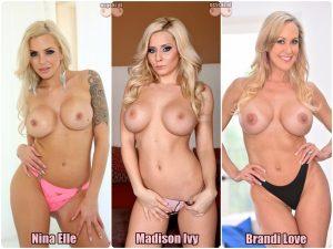 cycki miesiaca glosownie - najlepsze cyce gwiazdy porno - Nina Elle, Madison Ivy, Brandi Love nago