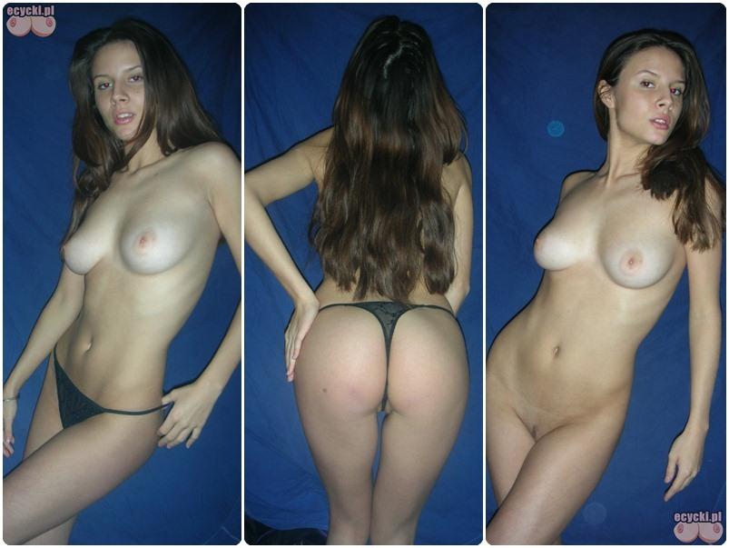 Mloda amatorka nago - seksowna amatorska sesja zdjeciowa w domu - dlugowlosa dziewczyna rozbiera sie - striptiz - ecycki