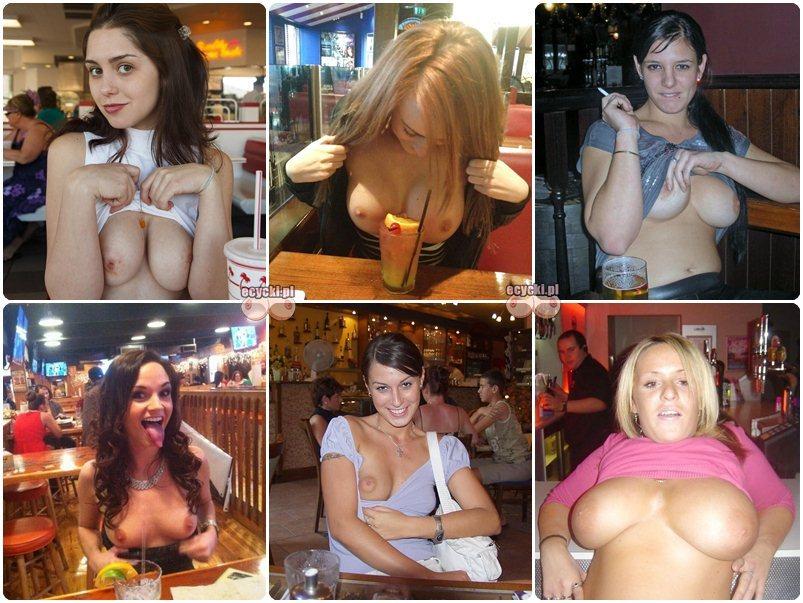 cycki w barze - amatorki pokazuja nagie piersi w miejscu publicznym - pokaz cyce - amatorskie zdjecia biustow nago - ecycki blog