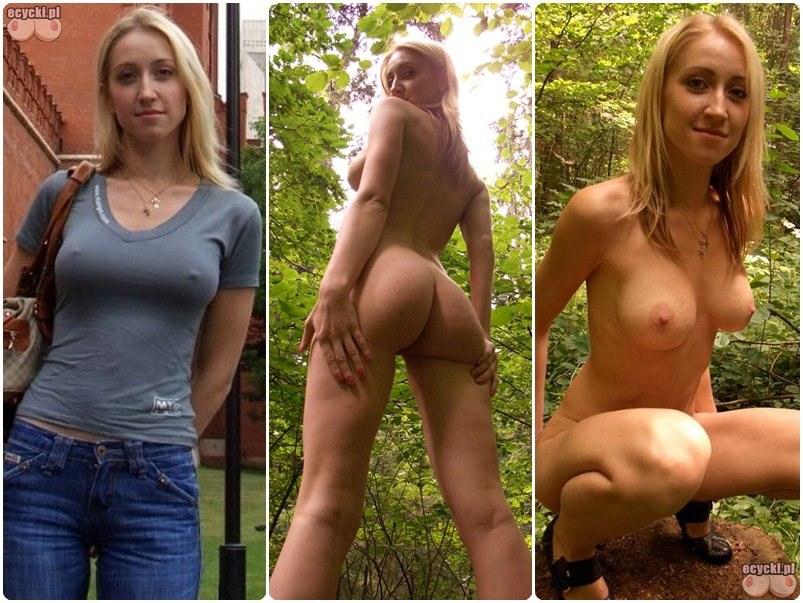 naturystka w lesie - mloda zgrabna dziewczyna nago w lesie - fajna blond laska nagie amatorskie zdjecia - jedrna pupa i duze piersi - ecycki