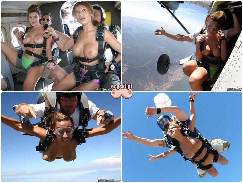 cycki na spadochronie - cycate dziewczyny topless wyskakuja z samolotu - spadochroniatstwo kobiet - szalone laski cyce w powierzu piersi w locie - ecycki