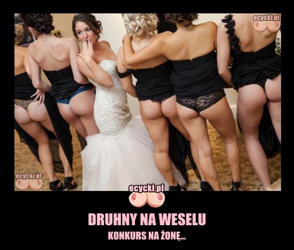 druhny na weselu memy konkurs na zone - kreacje na druhien - bielizna pod sukienke - seksowne dziewczyny pokazuja posladki pupy na slubie i panna mloda