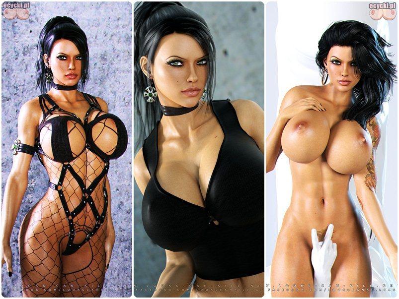 wirtualne dziewczyny - mega seksowna brunetka z wielkim biustem - graficzna dziewczyna - kobiety z gier komputerowych - modele 3d - ecycki