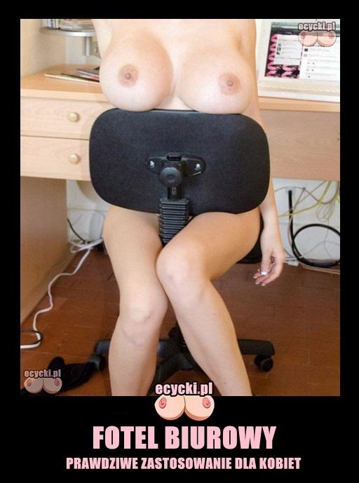 fotel biurowy i piersi mem - cycki na krzesle - podpora biustu - fajne cycki - seksi demoty z zabarwieniem erotycznym - ecycki blog na wesolo