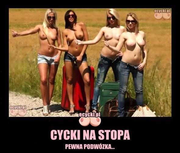cycki na stopa mem - pewna podwozka - 4 ladne dziewczyny autostopowiczki - laseczki pokazuja piersi kierowca - ecycki blog demoty najlepsze zabawne fotki